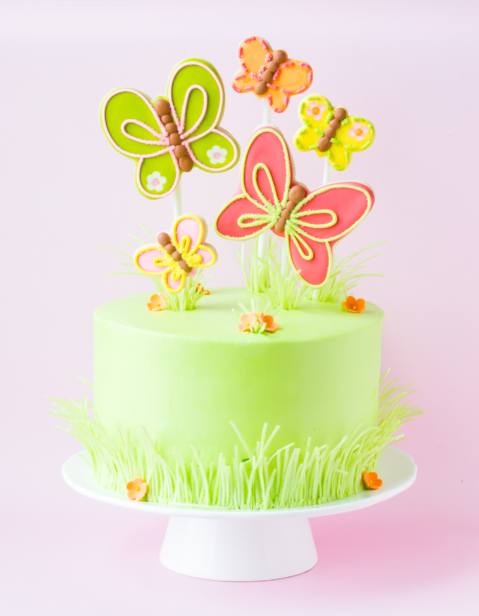 Spring Cake With Beautiful Butterfly Cookie Toppers